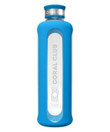 """Стеклянная голубая бутылка """"ClearWater"""" стильная"""