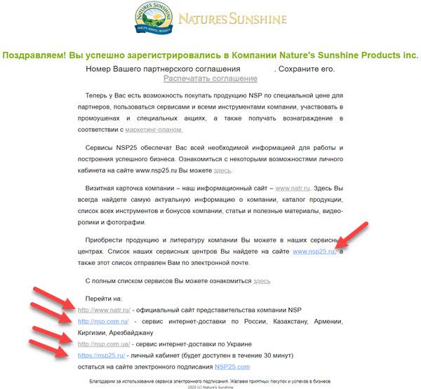 Okno uspeshnoj registracii v NSP