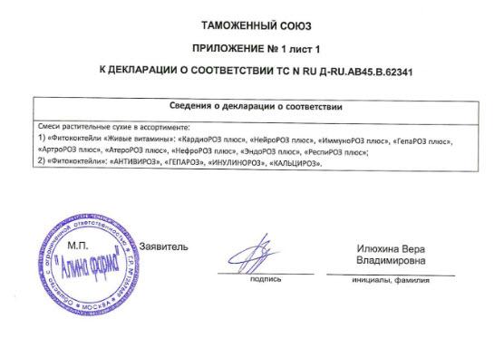 Prilochenie Deklaraciya Antiviroz Fitokoktejli Rodnik Zdorovya