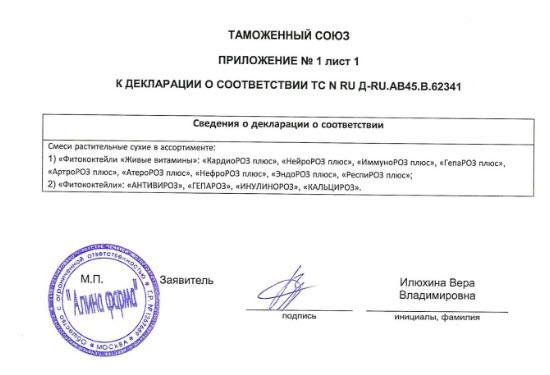 Prilochenie Deklaraciya Artroroz Zhivye Vitaminy Rodnik Zdorovya