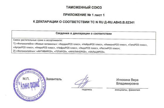 Prilochenie Deklaraciya Nefroroz Plyus Fitokoktejli Zhivye Vitaminy Rodnik Zdorovya