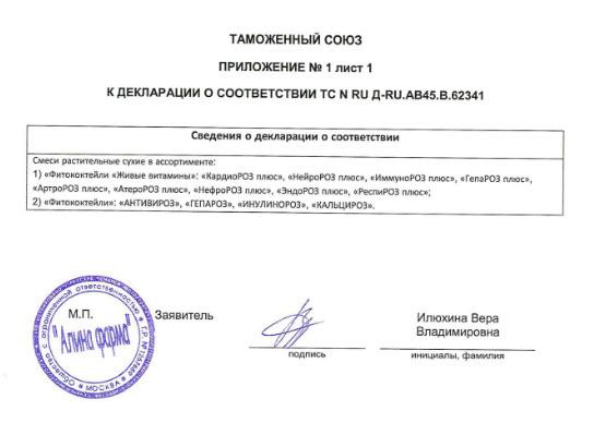 Prilochenie Deklaraciya Nejroroz Plyus Zhivye Vitaminy Rodnik Zdorovya