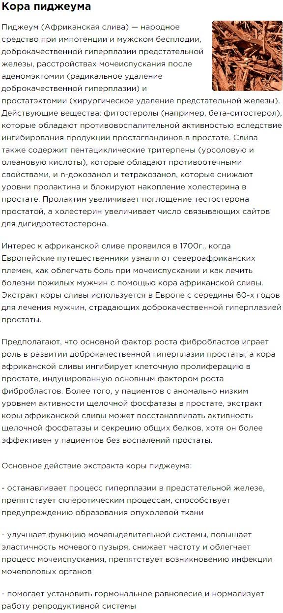 Kora Pidcheuma Semena Tykvy Sostav Bad Aktimen dlya muzhskogo zdorovya