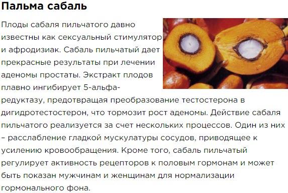 Palma Sabal Sostav Bad Aktimen dlya muzhskogo zdorovya