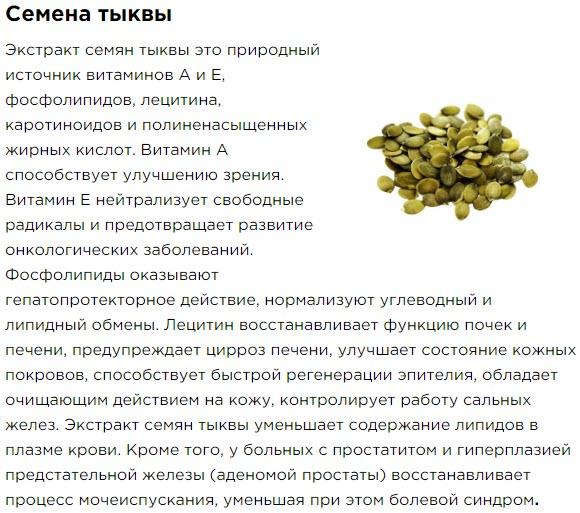 Semena Tykvy Sostav Bad Aktimen dlya muzhskogo zdorovya